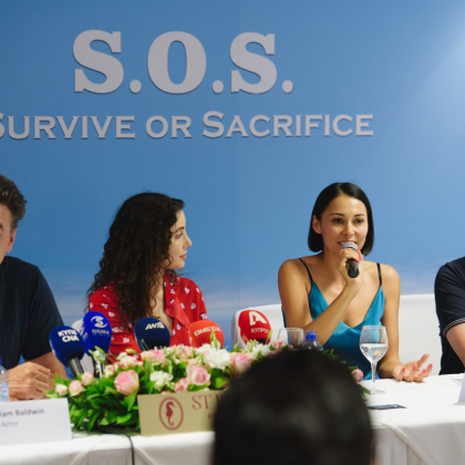 Press conference for the movie 'S.O.S. – Survive or Sacrifice'